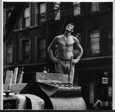 Jim Steinhardt (American, 1917 - 2010). Cement Worker Looking Upwards, 1955. Toned gelatin silver photograph, Sheet: 11 x 10 3/4 in.  (27.9 x 27.3 cm);. Brooklyn Museum, Gift of the artist, 1999.94.2. © Estate of Jim Steinhardt
