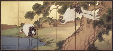 Yokoyama Kazan (Japanese, 1784-1837). Cranes and Pines, 1836. Six-panel screen, opaque watercolor, ink and gold on paper, 66 3/4 x 144 in.  (169.6 x 365.8 cm). Brooklyn Museum, Gift of the Asian Art Council, 1999.97