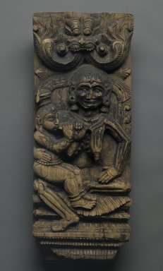 Krishna Suckling the Ogress,  Putana, 18th century. Wood, 22 x 8 3/4 in.  (55.9 x 22.2 cm). Brooklyn Museum, Gift of Dr. Bertram H. Schaffner, 1999.99.6. Creative Commons-BY