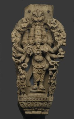 Five-headed Deity, 18th century. Wood, 35 x 16 1/4 in. (88.9 x 41.3 cm). Brooklyn Museum, Gift of Dr. Bertram H. Schaffner, 1999.99.8. Creative Commons-BY