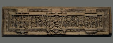 Lintel with Scenes of God Shiva, 19th century. Wood, 10 1/4 x 41 3/4 in.  (26.0 x 106.0 cm). Brooklyn Museum, Gift of Dr. Bertram H. Schaffner, 1999.99.9. Creative Commons-BY