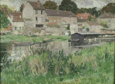 George Oberteuffer (American, 1878-1940). In Stevenson's Moret, ca. 1920. Oil on canvas, 28 13/16 x 39 7/16 in. (73.2 x 100.2 cm). Brooklyn Museum, John B. Woodward Memorial Fund, 20.636