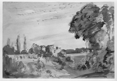 Philip Wilson Steer (British, 1860-1942). Landscape with Castle, 1899. Sepia on heavy wove paper, Sheet: 9 3/4 x 14 1/4 in. (24.8 x 36.2 cm). Brooklyn Museum, Gift of a friend, 20.643