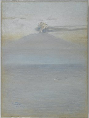 Charles Caryl Coleman (American, 1840-1928). View of Vesuvius: Effect 11:25 A.M., December 21, 1913. Pastel on grey-blue, medium weight, modereately textured wove paper mounted overall to pulpboard, 24 3/16 x 17 15/16 in. (61.4 x 45.6 cm). Brooklyn Museum, John B. Woodward Memorial Fund, 20.657