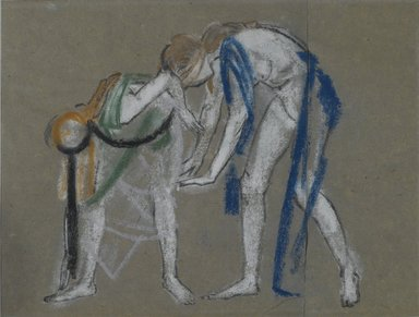 Arthur B. Davies (American, 1862-1928). Study of Two Dancers, ca. 1915-1920. Pastel on two sheets of vertically joined blue-gray laid paper, 14 7/16 x 16 5/16 in. (36.7 x 41.4 cm). Brooklyn Museum, Gift of Walter H. Crittenden, 20.663