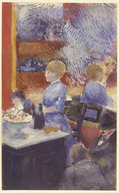 Jean-Louis Forain (French, 1852-1931). The Bar at the Folies-Bergère (Le Bar aux Folies-Bergère), 1878. Opaque watercolor with graphite underdrawing on paper, 12 1/2 x 7 3/4 in. (31.8 x 19.7 cm). Brooklyn Museum, Gift of a friend, 20.667