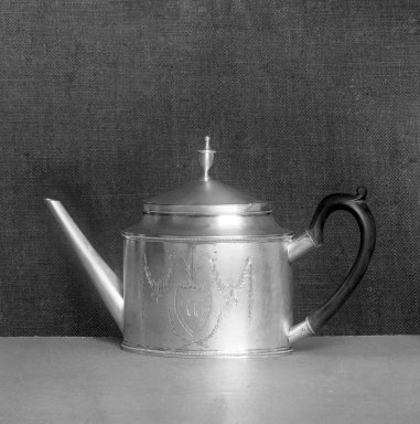John Vernon (American, active, 1787-1816). Teapot, ca. 1795. Silver, height x width: 7 7/8 x 12 3/16 in. (20 x 31 cm). Brooklyn Museum, Bequest of Samuel E. Haslett, 20.792. Creative Commons-BY
