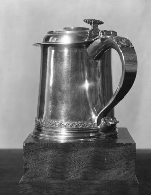 Tankard, ca. 1715. Silver, 7 x 8 1/4 in. (17.8 x 21 cm). Brooklyn Museum, Bequest of Samuel E. Haslett, 20.793. Creative Commons-BY