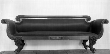American. Empire Sofa, 19th Century. Mahogany, 33 1/16 x 22 1/16 x 76 3/4 in. (84 x 56 x 195 cm). Brooklyn Museum, Bequest of Samuel E. Haslett, 20.891. Creative Commons-BY