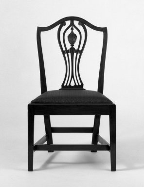 American. Six Side Chairs, ca. 1800. Hepplewhite style with straight legs, 38 x 21 3/4 x 17 1/2 in. (96.5 x 55.2 x 44.5 cm). Brooklyn Museum, Bequest of Samuel E. Haslett, 20.903.1-.6. Creative Commons-BY