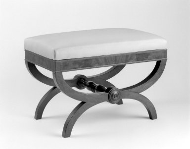 American. Bench, ca. 1830. Mahogany, modern textile, 18 1/2 x 27 x 15 in. (47 x 68.6 x 38.1 cm). Brooklyn Museum, Bequest of Samuel E. Haslett, 20.913. Creative Commons-BY