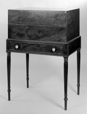 American. Box Desk on Sheraton Frame, 1800-1815. Mahogany, mahogany veneer, satinwood veneer, pine, Height: 38 3/16 in. (97 cm). Brooklyn Museum, Bequest of Samuel E. Haslett, 20.917. Creative Commons-BY