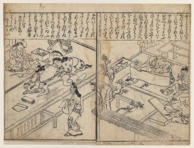 Hishikawa Moronobu (Japanese, 1618-1694). Women Dressmaking (left) and Artesans at Work (right), 1680-1690. Black and white (sumi-e), 13 x 9 1/4 in. (33 x 23.5 cm). Brooklyn Museum, Museum Collection Fund, 20.929