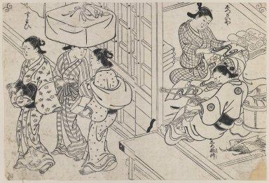 Nishikawa Sukenobu (1671-1751). Brocade Making by Women, ca. 1730-1736. Black and white (sumiye), Image: 13 7/8 x 9 3/8 in. (35.2 x 23.8 cm). Brooklyn Museum, Museum Collection Fund, 20.936