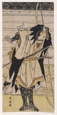 Katsukawa Shunei (Japanese, 1762-1819). The Actor Ichikawa Yaozo III as Takebayashi Tadashichi, from Chusingura, 1783. Woodblock color print, 11 13/16 x 5 9/16 in. (29.9 x 14.0 cm). Brooklyn Museum, Museum Collection Fund, 20.938