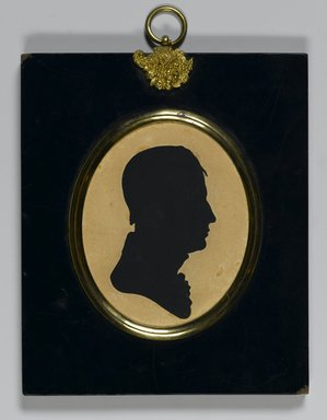 William James Hubard (American, born England, 1807-1862). Profile of a Man, ca. 1835. Painted paper cut-out mounted to wove paper in papier-mâché frame with brass hanger, Image (sight): 3 3/8 x 2 3/4 in. (8.6 x 7 cm). Brooklyn Museum, Bequest of Samuel E. Haslett, 20.964