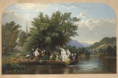 William Wellstood (American, 1819-1900). Life's Day or Three Times Across the River: Noon (The Wedding Party), 1865. Engraving Brooklyn Museum, Dick S. Ramsay Fund, 2000.10