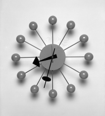 "Irving Harper (American, 1916-2015). ""Ball"" Wall Clock, 1948-1969. Painted birch, steel, brass, 13 1/2 x 13 1/2 x 2 3/4 in. (34.3 x 34.3 x 7 cm). Brooklyn Museum, H. Randolph Lever Fund, 2000.101.1. Creative Commons-BY"