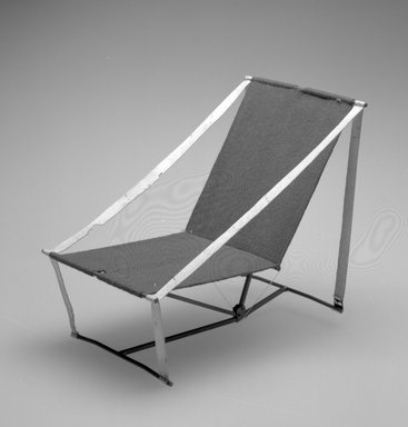 Henry (Heintz) P. Glass (American, born Austria, 1911-2003). Folding Chair Model, Designed 1961. Metal, textile, 7 1/4 x 5 3/4 x 8 1/4 in.  (18.4 x 14.6 x 21 cm). Brooklyn Museum, Modernism Benefit Fund, 2000.101.3. Creative Commons-BY