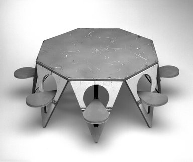 Henry (Heintz) P. Glass (American, born Austria, 1911-2003). Folding Picnic Table Model, Designed 1961. Painted wood, metal, textile, 6 1/8 x 17 1/4in. (15.6 x 43.8cm). Brooklyn Museum, Modernism Benefit Fund, 2000.101.4. Creative Commons-BY