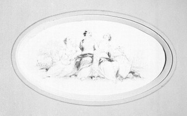 American. Vignette J, 1840s-1850s. Watercolor and graphite, 5 7/46 x 2 7/8 in.  (13.1 x 7.3 cm). Brooklyn Museum, Purchased with funds given by Mr. and Mrs. Leonard L. Milberg, 2000.106.10