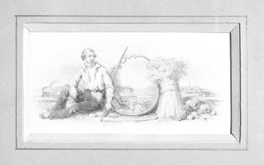 American. Vignette K, 1840s-1850s. Watercolor and graphite, 5 x 2 15/16 in.  (12.7 x 7.5 cm). Brooklyn Museum, Purchased with funds given by Mr. and Mrs. Leonard L. Milberg, 2000.106.11