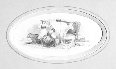 American. Vignette M, 1840s-1850s. Watercolor and graphite, 4 1/8 x 2 7/8 in.  (10.5 x 7.3 cm). Brooklyn Museum, Purchased with funds given by Mr. and Mrs. Leonard L. Milberg, 2000.106.13