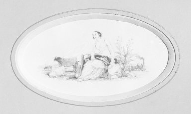 American. Vignette F, 1840s-1850s. Watercolor and graphite, 5 3/4 x 3 7/16 in.  (14.6 x 8.7 cm). Brooklyn Museum, Purchased with funds given by Mr. and Mrs. Leonard L. Milberg, 2000.106.6