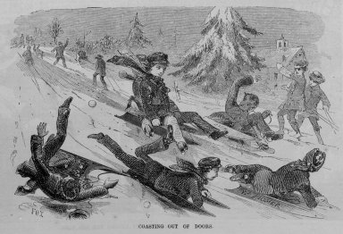 Winslow Homer (American, 1836-1910). Coasting Out of Doors, 1859. Wood engraving, image:  7 x 4 1/2 in.  (17.8 x 11.4 cm);. Brooklyn Museum, Gift of Harvey Isbitts, 2000.112.2b