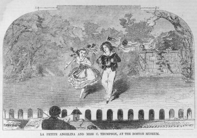 Winslow Homer (American, 1836-1910). La Petite Angelina and Miss C. Thompson at the Boston Museum, 1859. Wood engraving, image:6 7/8 x 4 1/2  in.  (17.5 x 11.4 cm);. Brooklyn Museum, Gift of Harvey Isbitts, 2000.112.6a