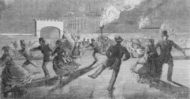 Winslow Homer (American, 1836-1910). Evening Scene at the Skating Park, 1859. Wood engraving, image:  9 1/2 x 5  in.  (24.1 x 12.7 cm);. Brooklyn Museum, Gift of Harvey Isbitts, 2000.112.6b