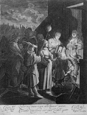 Jan van de Velde II (Dutch, 1593-1641). Shrove-Tuesday. Engraving, Sheet: 13 5/8 x 9 5/8 in.  (34.6 x 24.4 cm). Brooklyn Museum, Gift of John C. Quell, 2000.113.3