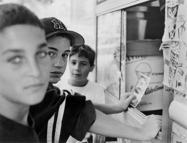 Gerard Vezzuso (American, born 1943). Boys at Ice Cream Truck, Staten Island, NY, 1999. Gelatin silver photograph, sheet: 20 7/8 x 24 7/8 in.  (53.0 x 63.2 cm). Brooklyn Museum, Gift of the artist, 2000.122.4. © Gerard Vezzuso