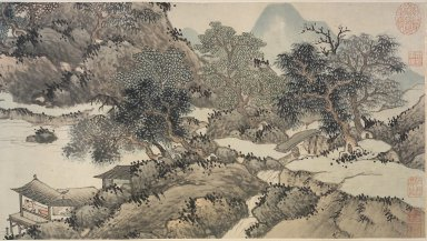 Shen Zhou (Chinese, 1427-1509). Mountains and Streams without End, 1368-1644. Handscroll, Ink and color on paper, overall approx: 14 5/16 x 351 in.  (36.4 x 891.5 cm). Brooklyn Museum, Anonymous gift, 2000.124