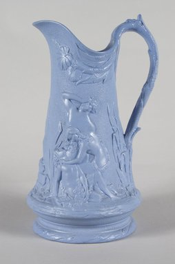 Attributed to Edward Walley, Villa Pottery (1845-1865). Jug, Death of Abel Pattern, ca. 1845. Matte blue stoneware, 9 1/4 x 5 1/2 x 5 1/8 in.  (23.5 x 14.0 x 13.0 cm). Brooklyn Museum, Gift of Gretchen Adkins, 2000.126.5. Creative Commons-BY
