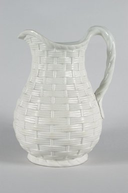 Unknown. Jug, Basket Weave Pattern, ca. 1850. Matte white stoneware, 9 3/4 x 7 1/2 x 5 3/4 in.  (22.9 x 19.1 x 14.6 cm). Brooklyn Museum, Gift of Gretchen Adkins, 2000.126.6. Creative Commons-BY