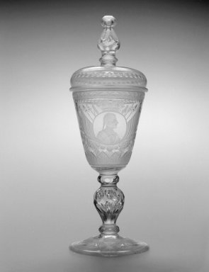 German. Goblet and Cover, ca. 1730. Glass, 11 3/8 x 3 7/8 x 3 7/8 in.  (28.9 x 9.8 x 9.8 cm). Brooklyn Museum, Gift of Wunsch Foundation, Inc., 2000.128.2a-b. Creative Commons-BY