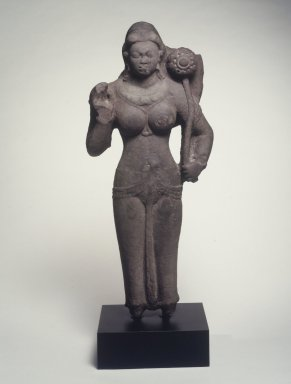 Standing Female Divinity, 4th century. Spotted red sandstone, 42 x 20 x 9 in. (106.7 x 50.8 x 22.9 cm). Brooklyn Museum, 2000.13. Creative Commons-BY