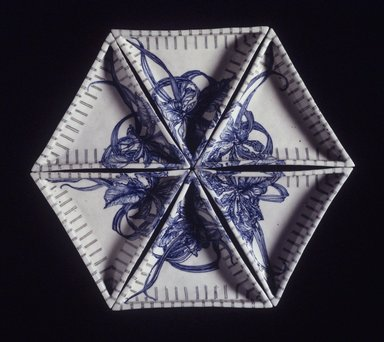 Ikuta Susumu (Japanese, born 1934). Segmented Dishes, 1990. Porcelain with underglaze decoration, each dish: 1 3/8 x 7 5/8 x 9 in. (3.5 x 19.4 x 22.9 cm). Brooklyn Museum, Gift of Nobuko Kajitani, 2000.14.2a-f. Creative Commons-BY