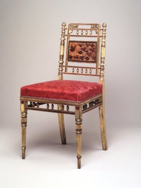 Herter Brothers (American, 1865-1905). Side Chair, ca. 1878. Wood, gilt, fabric, 34 1/4 x 17 x 19 in. (87 x 43.2 x 48.3 cm). Brooklyn Museum, Marie Bernice Bitzer Fund, 2000.4. Creative Commons-BY