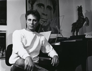 Arthur Mones (American, 1919-1998). John Corigliano, 1992. Gelatin silver photograph, image:  10 1/2 x 13 1/2 in.  (26.7 x 34.3 cm);. Brooklyn Museum, Gift of Wayne and Stephanie Mones at the request of their father, Arthur Mones, 2000.89.1. © Estate of Arthur Mones