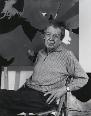 Arthur Mones (American, 1919-1998). James Brooks, 1980. Gelatin silver photograph, image:  13 1/2 x 10 1/2 in.  (34.3 x 26.7 cm);. Brooklyn Museum, Gift of Wayne and Stephanie Mones at the request of their father, Arthur Mones, 2000.89.27. © Estate of Arthur Mones