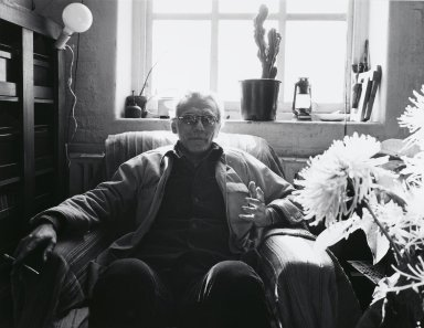 Arthur Mones (American, 1919-1998). Joel Oppenheimer, 1980. Gelatin silver photograph, image:  10 1/2 x 13 1/2 in.  (26.7 x 34.3 cm);. Brooklyn Museum, Gift of Wayne and Stephanie Mones at the request of their father, Arthur Mones, 2000.89.3. © Estate of Arthur Mones