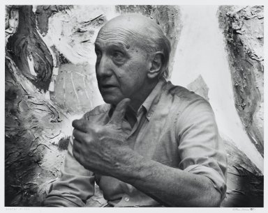 Arthur Mones (American, 1919-1998). George Meneil, 1983. Gelatin silver photograph, image:  10 1/2 x 13 1/2 in.  (26.7 x 34.3 cm);. Brooklyn Museum, Gift of Wayne and Stephanie Mones at the request of their father, Arthur Mones, 2000.89.46. © Estate of Arthur Mones