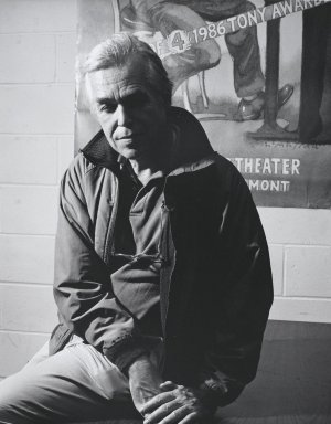 Arthur Mones (American, 1919-1998). John Guare, 1992. Gelatin silver photograph, image:  13 1/2 x 10 1/2 in.  (34.3 x 26.7 cm);. Brooklyn Museum, Gift of Wayne and Stephanie Mones at the request of their father, Arthur Mones, 2000.89.5. © Estate of Arthur Mones