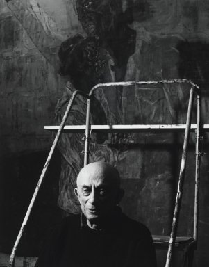 Arthur Mones (American, 1919-1998). Leon Golub, 1990. Gelatin silver photograph, image:  13 1/2 x 10 1/2 in.  (34.3 x 26.7 cm);. Brooklyn Museum, Gift of Wayne and Stephanie Mones at the request of their father, Arthur Mones, 2000.89.65. © Estate of Arthur Mones