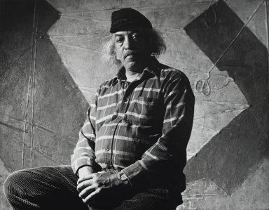 Arthur Mones (American, 1919-1998). Joe Overstreet, 1992. Gelatin silver photograph, image:  10 1/2 x 13 1/2 in.  (26.7 x 34.3 cm);. Brooklyn Museum, Gift of Wayne and Stephanie Mones at the request of their father, Arthur Mones, 2000.89.71. © Estate of Arthur Mones