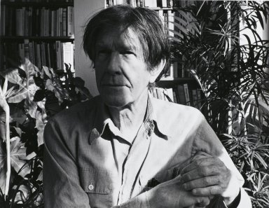 Arthur Mones (American, 1919-1998). John Cage, 1983. Gelatin silver photograph, image:  10 1/2 x 13 1/2 in.  (26.7 x 34.3 cm);. Brooklyn Museum, Gift of Wayne and Stephanie Mones at the request of their father, Arthur Mones, 2000.89.8. © Estate of Arthur Mones