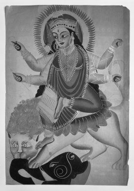 The Goddess Durga Astride a Lion, late 19th-early 20th century. Watercolors on paper with polished tin accents, 16 x 11 in.  (40.6 x 27.9 cm). Brooklyn Museum, Gift of Dr. Bertram H. Schaffner, 2000.98.1
