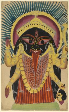 Kali, late 19th-early 20th century. Watercolors on paper with polished tin accents, 17 7/8 x 10 7/8 in.  (45.4 x 27.6 cm). Brooklyn Museum, Gift of Dr. Bertram H. Schaffner, 2000.98.6